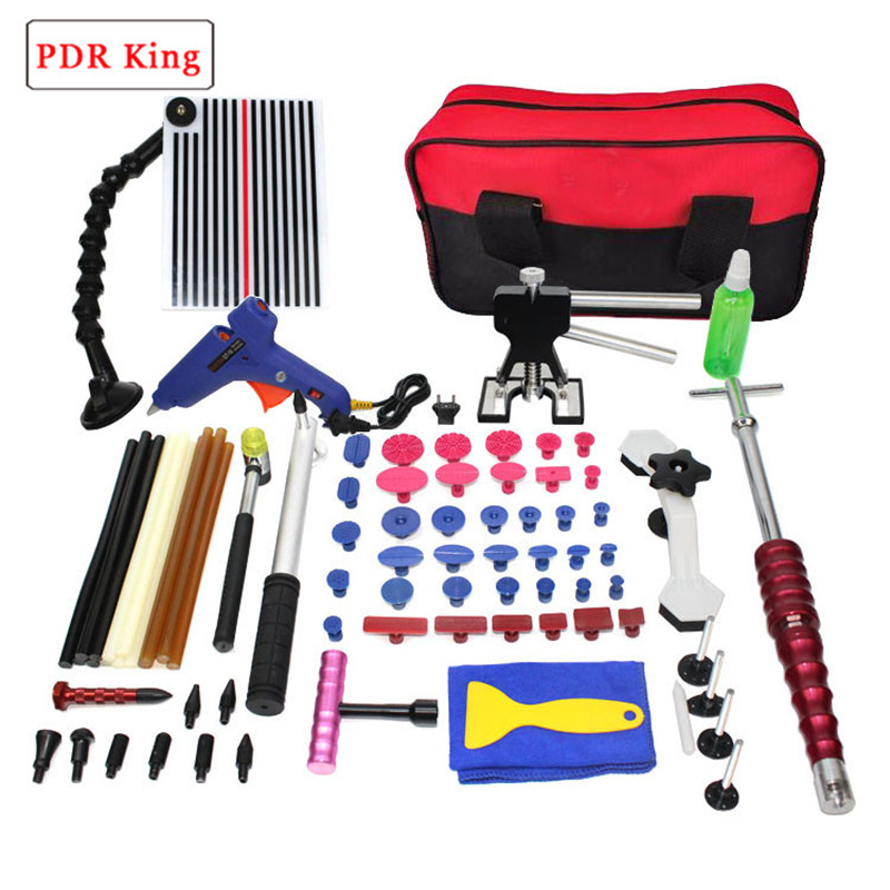 PDR Tools Kit Paintless Dent Repair Tool Set for Car body dent removal tools set Glue Puller Glue Gun hand Tools Bag tabs pdr tools for car kit dent lifter glue tabs suction cup hot melt glue sticks paintless dent repair tools hand tools set
