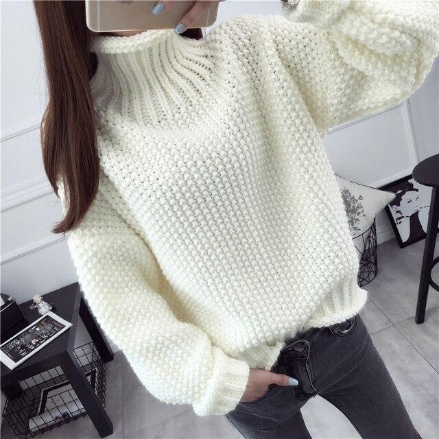2016 Осень зима толстый свитер женская высокая шея сплошной цвет свободные пуловеры женский потяните femme tutleneck дна рубашки