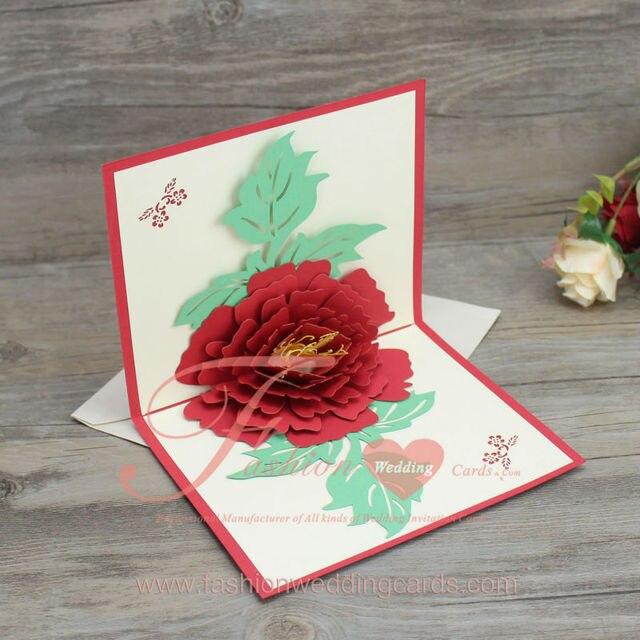 High Quality 3d Top Up Wedding Invitation Card Postcard 3d