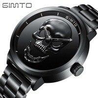 Skull Watches Male Unique Design Men Watch GIMTO Luxury Brand Sports Quartz Military Steel Wrist Watch