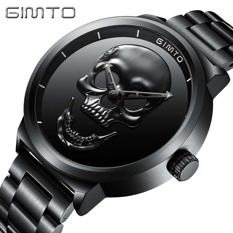 Skull Watches Male Unique Design Men Watch GIMTO Luxury Brand Sports Quartz Military Steel Wrist Watch Men relogio masculino oulm casual leather sports watches men luxury brand unique designer military watch male quartz wrist watch relojes deportivos