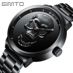Skull Watches Male Unique Design Men Watch GIMTO Luxury Brand Sports Quartz Military Steel Wrist Watch Men relogio masculino