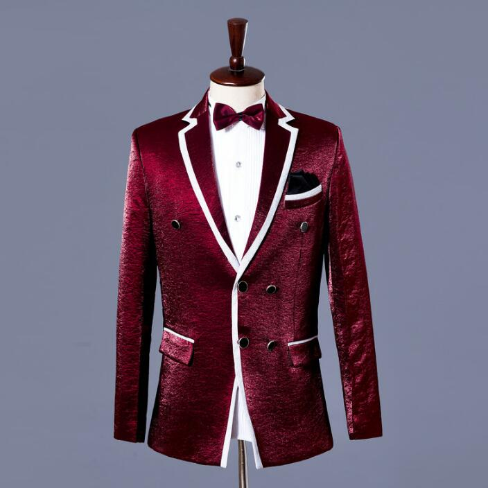 Singer Style Dance Stage Clothing For Men Suit Set With Pants 2019 Mens Wedding Suits Costume Groom Formal Dress Tie Wine Red