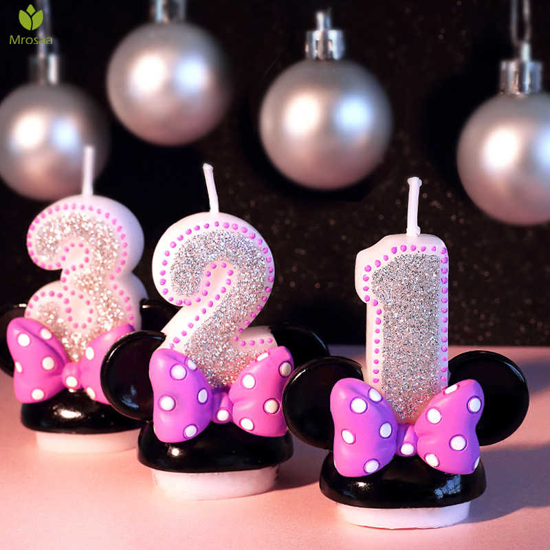 Mrosaa Child Happy Birthday Candles Cartoon Numbers Party Cake Creatives Wax Candle smokeless Party Home decor Weddings candles