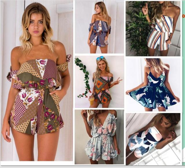 4d25620b26f summer Women Strapless Playsuit Striped Rompers Ruffles Sleeve Jumpsuit  Backless Sexy Overall Casual Beach Short Pants