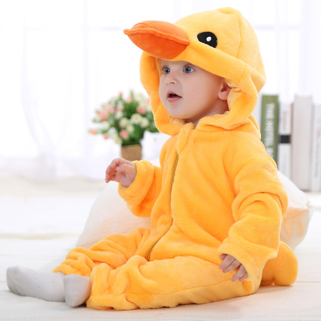 3D Panda Duck Cute Animal Kids Sleepwear Soft Flannel Children Coverall Footed Pajamas Baby Boys Girls Sleepwear Fit 0-24 Month