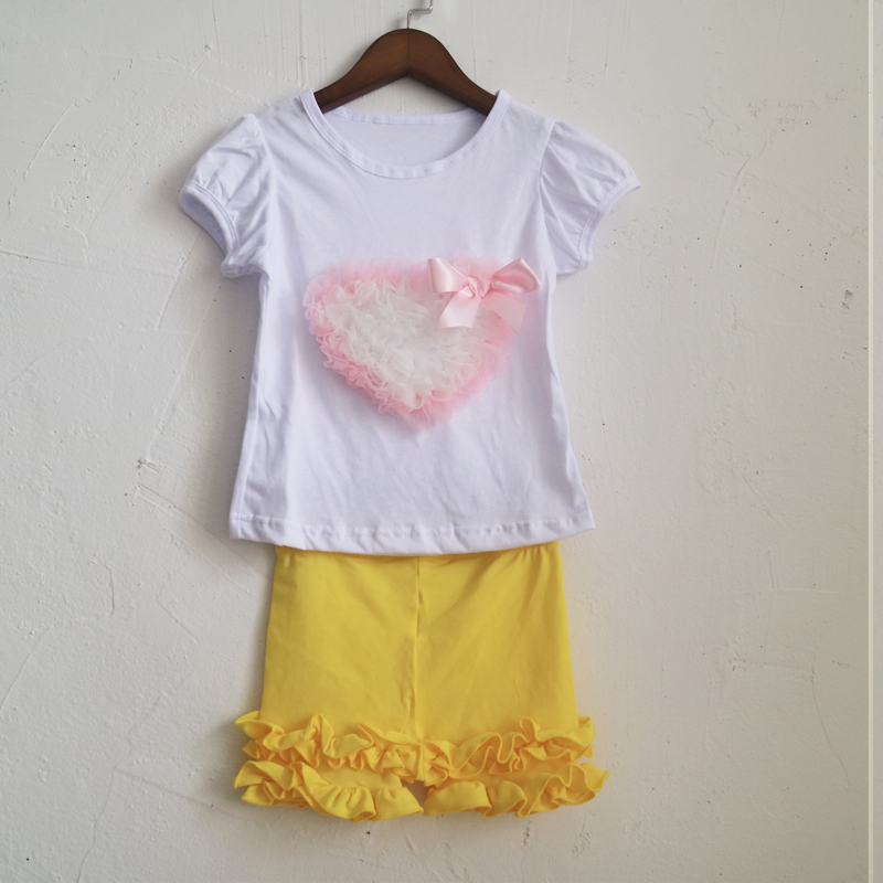pink heart pattern shirt sleeve tee and yellow shorties summer high quality outfit in selling font