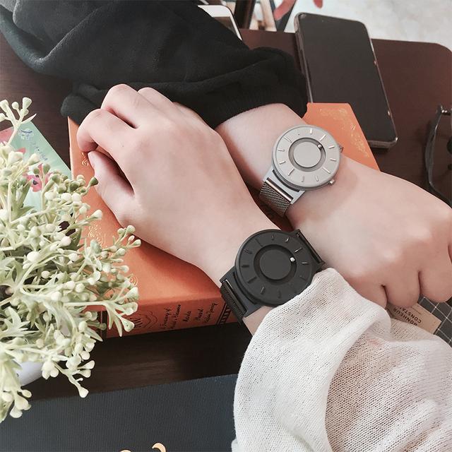 2018 New Style Watch Men EUTOUR Magnetic Ball Show Innovate WristWatches Mens Nylon Strap Quartz Watch Fashion erkek kol saati