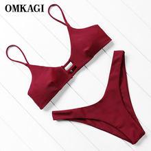 574e31b55 OMKAGI marca Bikini brasileño 2019 traje de baño mujeres Sexy Push de las mujeres  traje de baño Micro Bikini conjunto