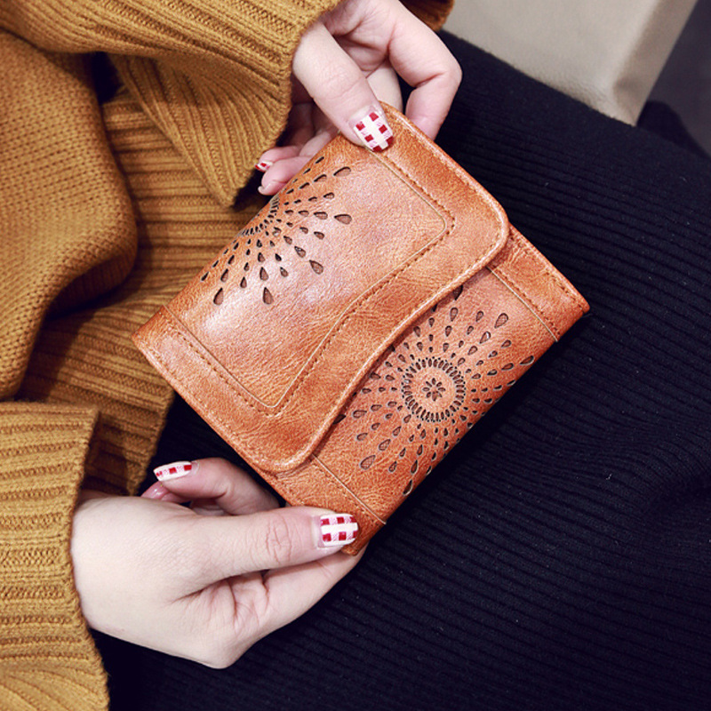 New Arrival High Quality Women's Short Vintage Hollow Out Pattern Wallet Multi-function Short Purse Bag Female Purse ST2214-1 new arrival vintage pattern multi purpose beanie