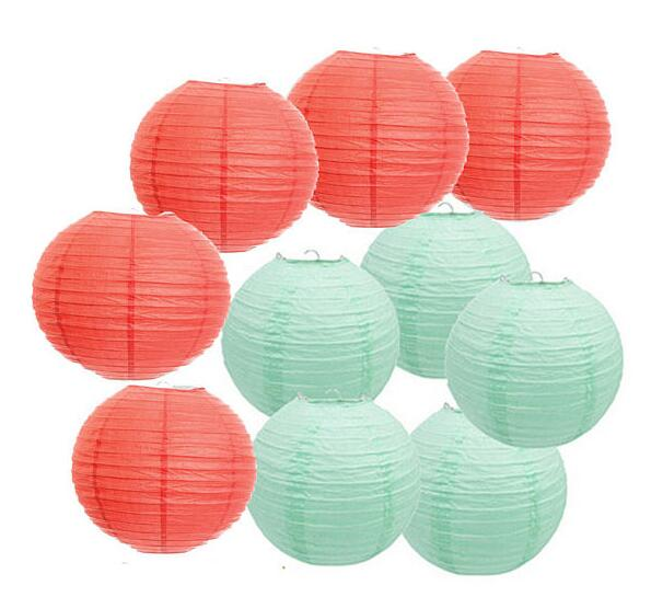 10pcs 8 Inch(20cm) Coral Mint Green Chinese Paper Lanterns For Party ...