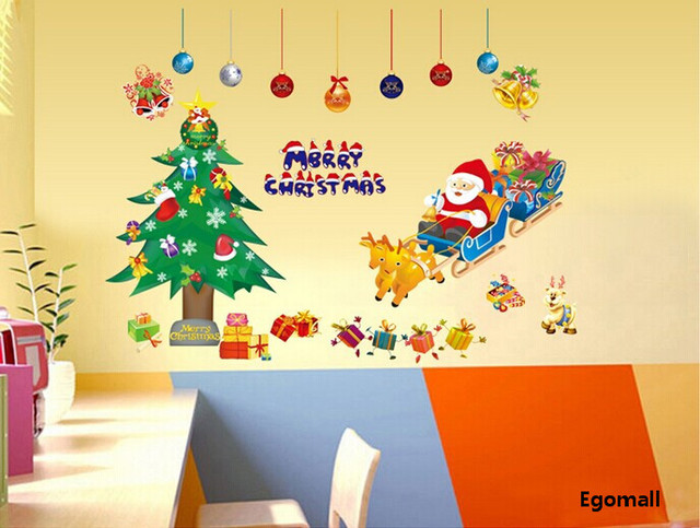 Christmas Decorations Gift Xmas Tree Santa Claus PVC Removable ...