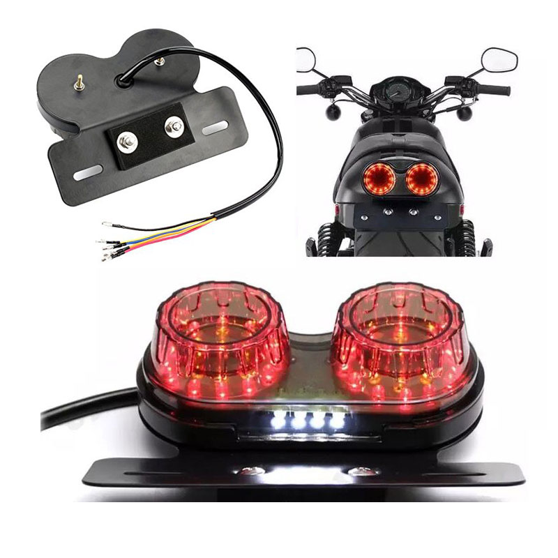 RYDE LED BLACK//CLEAR MOTORCYCLE//BIKE REAR//TAIL LIGHT BRAKE//STOP NUMBER PLATE
