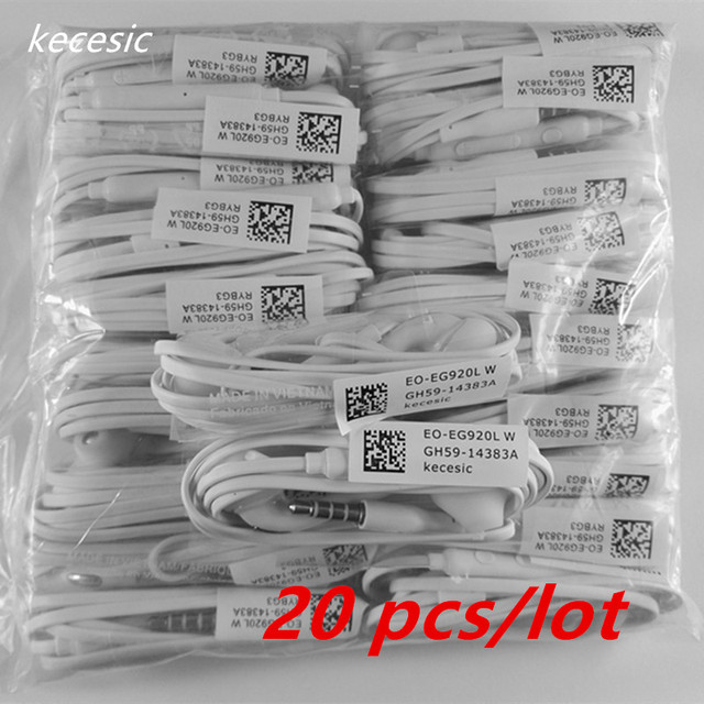 kecesic 20 pcs/lot 3.5mm in-ear S6 Headphones Earphones with Mic Earphones For Samsung Galaxy  S5  s6 Headset Free Shipping