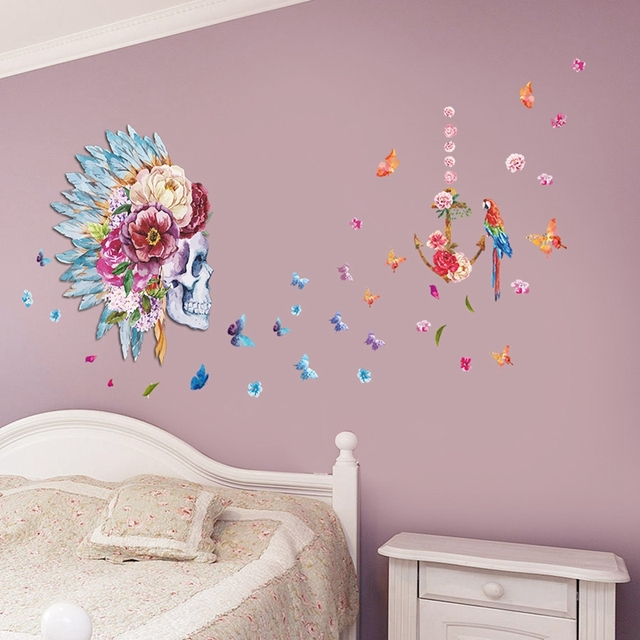 Schedel Bloem Patroon Woonkamer Vinyl 3D Muurstickers Window Decor ...