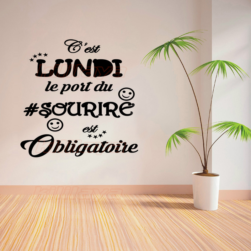 fran ais vinyle wall sticker citation c 39 est lundi le port du sourire obligatoire amovible papier. Black Bedroom Furniture Sets. Home Design Ideas