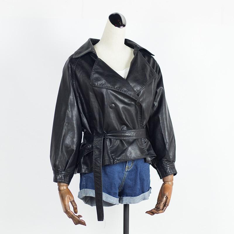 Biker Moto Short Coats New 2019 Spring Autumn Women PU Outerwear Casual Long Sleeve Slim Belt Faux Leather Jacket