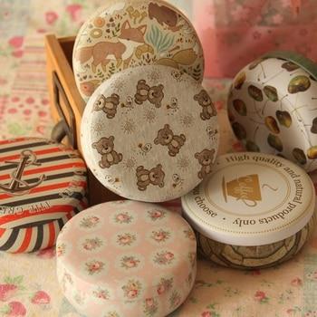 Tinplate Round Macaron Dessert Tin Box Small Storage Coin Jewelry Case Chewing Gum Exquisite Printing