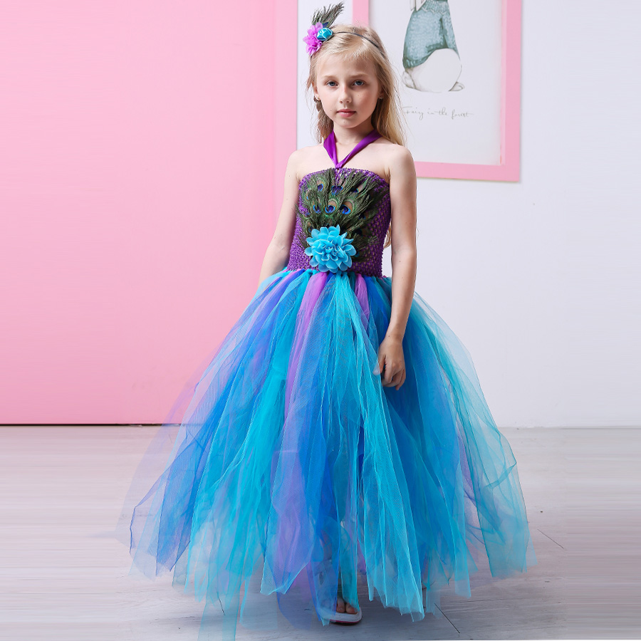 aliexpress : buy peacock feather flower girl tulle tutu dress