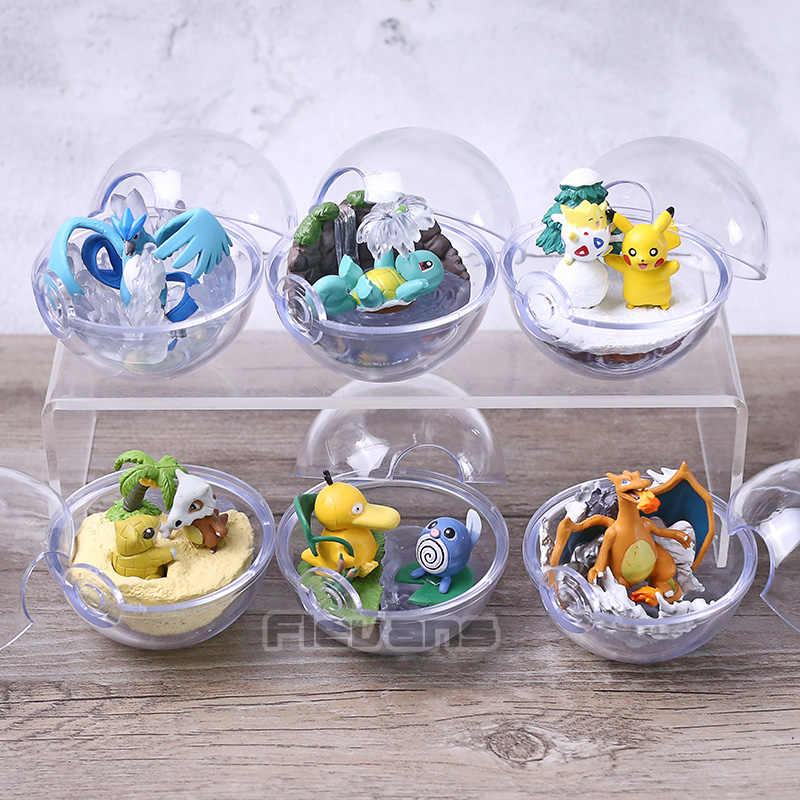 Monstros Articuno Togepi Charizard Squirtle Psyduck Poliwrath Cubone Sandshrew Anime Cartoon PVC Figuras Brinquedos Dolls 6 pçs/set