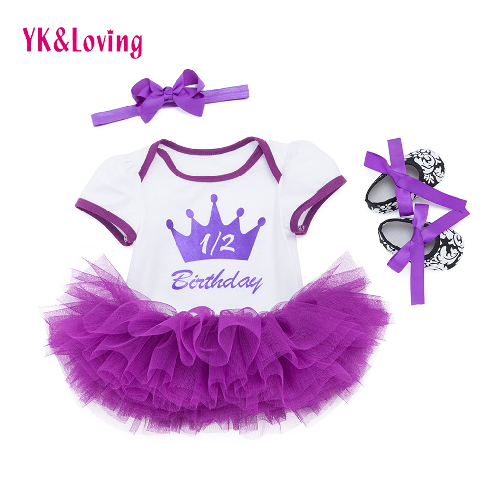 Baby 1 2 st Birthday Princess Clothing Sets Purple Crown Romper And Tutu Skirt Shoes Infantil Newborn Girl 0-24 Month Clothes baby girl clothing sets easter baby girl lace tutu romper dress jumpersuit headband shoes 4pcs set bebes first birthday costumes