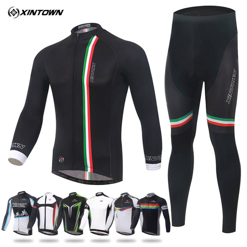 XINTOWN Cycling Long Sleeve Jersey Set Ropa Ciclismo Team Sportswear Suit Bike Clothing Breathable Quick Dry