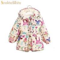 Winter Kids Jackets And Coats Girls Graffiti Parkas Hooded Baby Girl Warm Outerwear Cartoon Animal Children