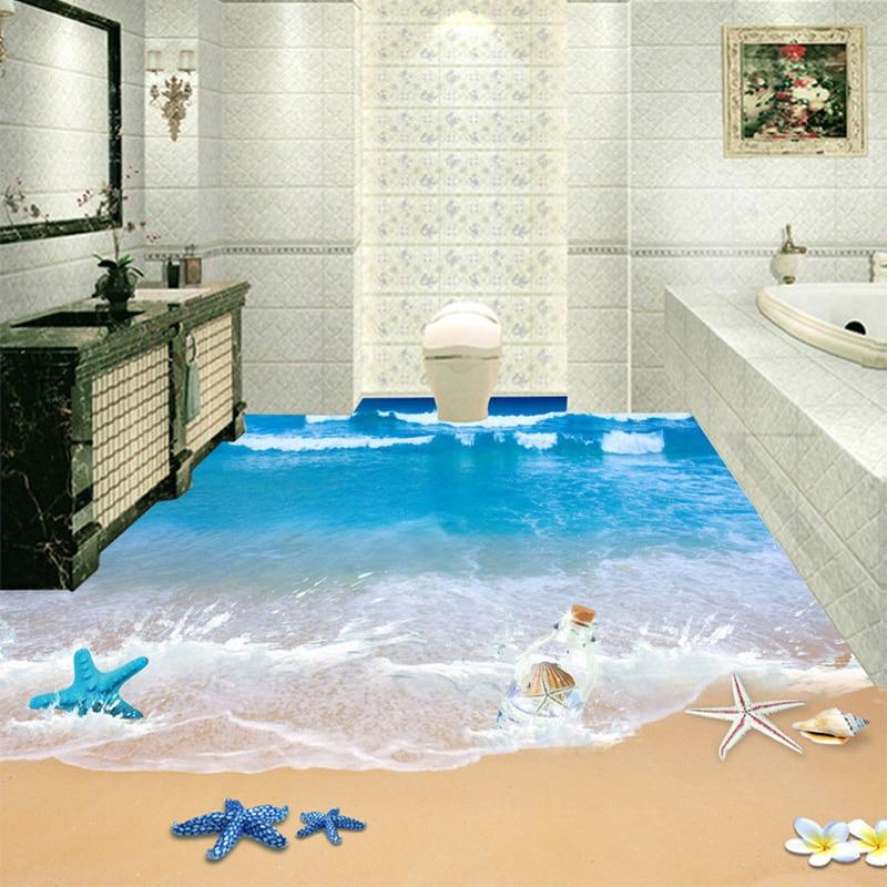 modern beach seawater photo mural wallpaper 3d floor tiles sticker bathroom pvc self adhesive waterproof wear nonslip wallpaper