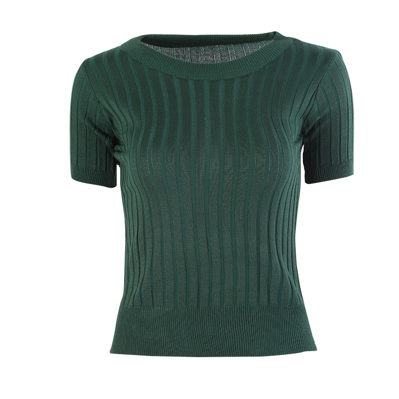 T-shirt Tops Knitted Slim Pullover Women Sweater Half Sleeve Thin Tight Fit Semi-high Collar Clothing Elegant 5 colors