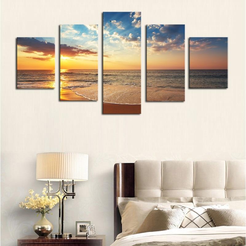 Uokvireno 5 ploča pejzaž s pogledom na more Canvas print slika - Kućni dekor