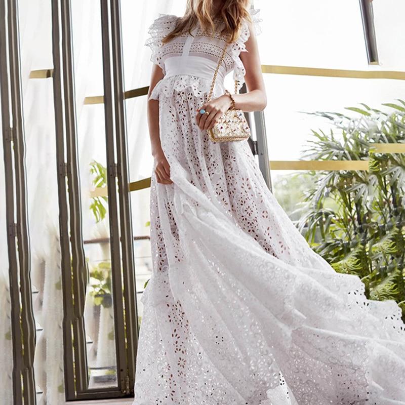 Mode plus récent élégant 2019 été piste Designer Maxi robe femmes Sexy col rabattu Perspective plume 2 pièce robe