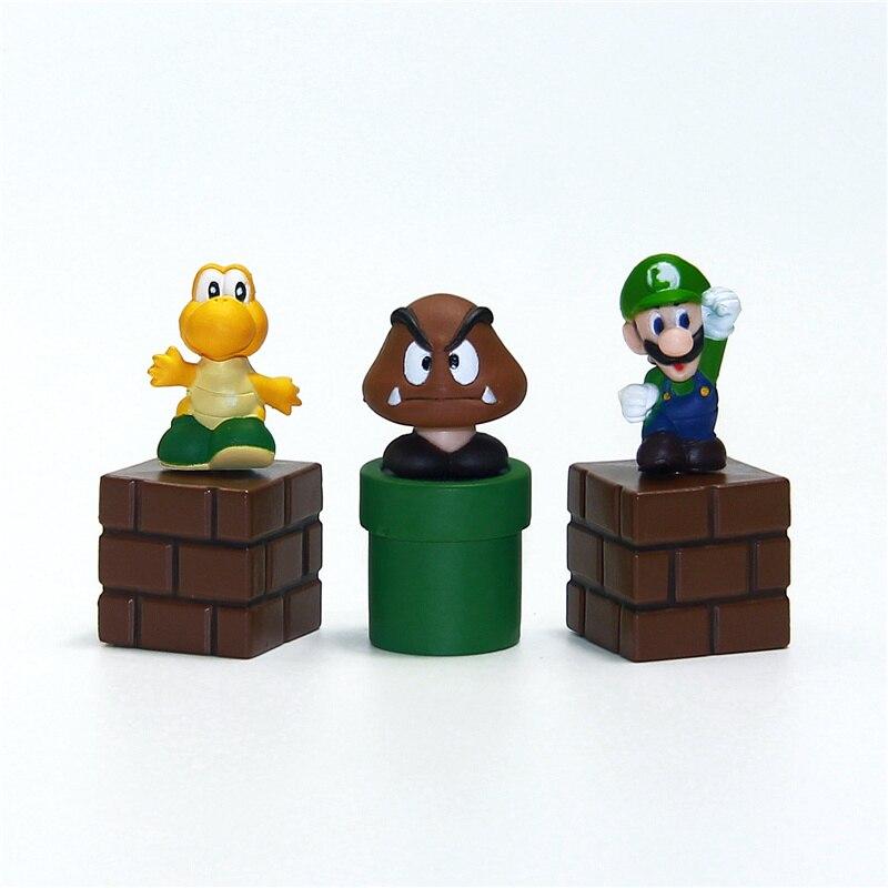 Новый Super Mario Bros Цифры игрушки пачке 5 см 2 Марио Goomba Луиджи Купа Troopa гриб