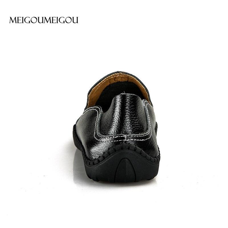 azul Emenda Homens Feijão Preto Slip De Meigoumeigou 47 branco Couro marrom Casual Sapatos Dos Big Flats Mocassins on Tamanho Respirável aqxTZIvw