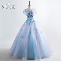 QSYYE 2019 Ball Gown Long Prom Dresses 3D Floral Flowers Lace Tulle Floor Length Women Formal Evening Dresses Party Gown