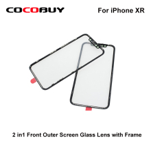 AAA  A+ Novecel 2 in1 Front Outer Screen Glass Lens with Frame Bezel For iPhone XR