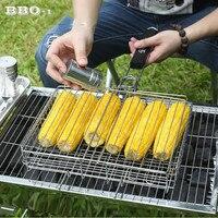 Barbecue Grilling Basket Wood handle Adjustable Folding BBQ Basket Steak Fish Corn Vegetable Grill Net Rack Mesh BBQ Accessories