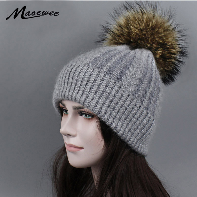 Women Real Fur Pom Pom Hat Female Autumn Winter Rabbit Knitted   Beanies   Fur Cap Girls Cashmere Natural Raccoon Fur Pompom Hat new