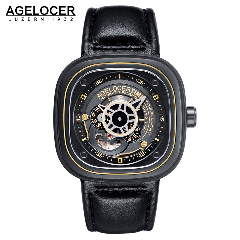 Agelocer Brand square men watch top quality relojes hombre 2017 Business Dress Casual Luxury sports watch mens stainless steel original top luxury gold watchband sliver case metal bracelet women male dress business men s watch relojes hombre 2017 clock