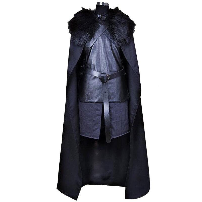 Marque Américain TV Série Game of Thrones Cosplay Costume Jon Neige Chevalier Cosplay Jeu de Rôle Costume Halloween Plus Taille XXXL