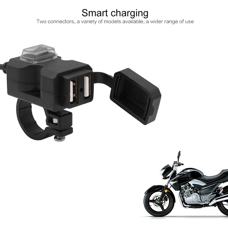 Waterproof Motorcycle Charger Moto Handlebar Dual USB Charging Socket Power Charger Adapter Moto Accessories