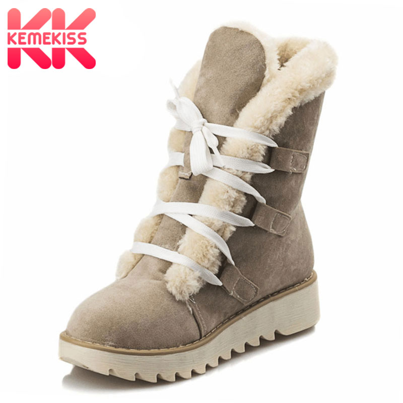 KemeKiss Size 32-43 Gladiator Snow Boots Women Flat Half Short Boot Ladies Warm Plush Winter Mid Calf Boots Footwear Shoes Woman women high heel half short boots thickened fur warm winter plush mid calf snow boot woman botas footwear shoes p21994 size 34 39