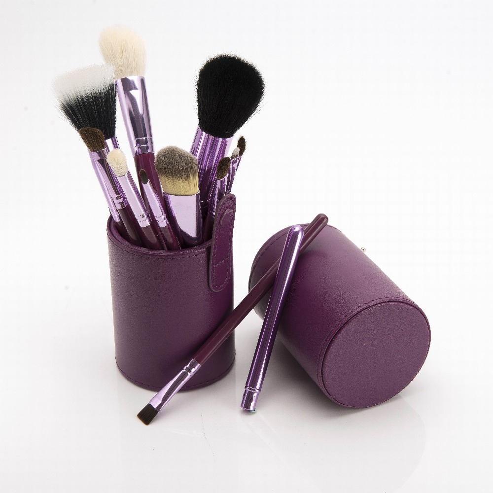 Professional <font><b>Purple</b></font> Goat Hair <font><b>Makeup</b></font> Brushes 12pcs Brushes Cosmetic Make Up Set with Cylinder <font><b>Cup</b></font> Holder, Free Drop Shipping