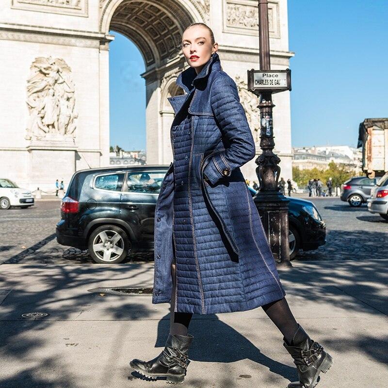 2015Newest Design Fashion Double Breasted Denim Trench Down Outerwear Slim Down Coat Female ellen tracy outerwear women s double breasted classic trench coat