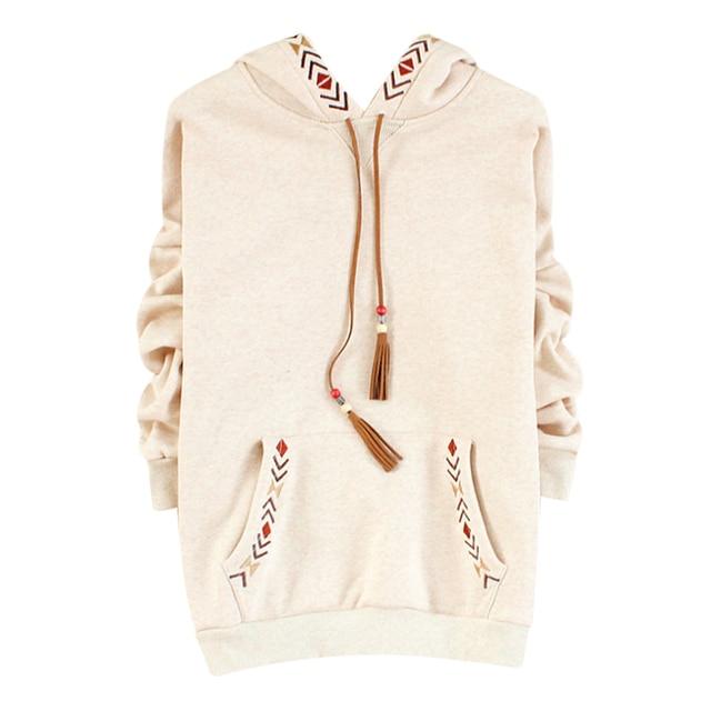 Fashion Tassel Drawstring Hoodies Women Ethnic Geometric Embroidery Lace Up Sweatshirt  Ladies Cotton Fleece Warm Loose Pullover 03e5c966659a