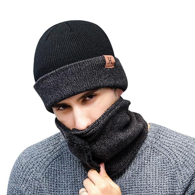 3996664f VBIGER 3pcs Winter Knitted Hat Scarf Gloves Set Warm Thickened Cap Beanie  Skull Touch Screen Gloves Button Shawl for Men Women