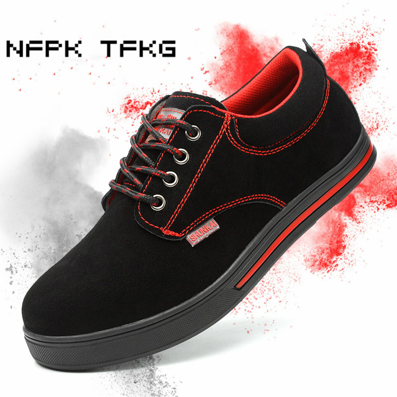 mens large size steel toe cap work safety shoes cow suede leather platform flats anti-pierce building site worker security boots цены онлайн