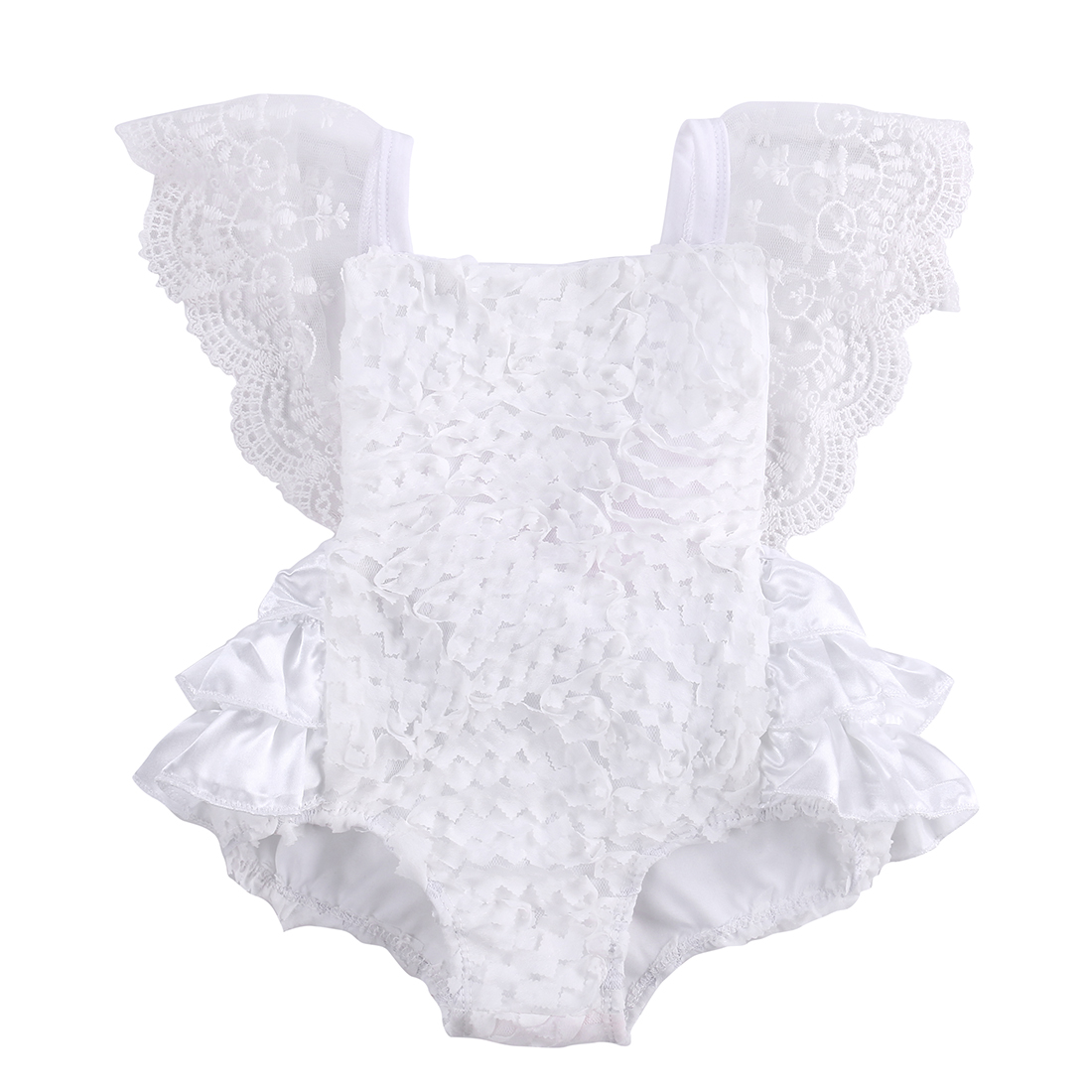 2016 fashion baby bodysuit wholesale kids baby girls sleeveless lace garden cake bodysuit sunsuit Outfits