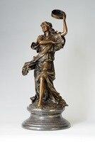 Классическая женщина Барабаны танец, скульптура бронзовая фигурка леди Украшение Дома Антиквариат женские скульптуры