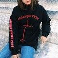 Winter tops Gothic letters print cross embroidery hip hop Streetwear plus velvet fleece pullovers hooded Sweatshirt women/men