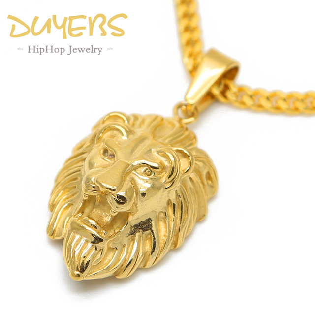 25d5b8d4f4d DUYEBS lion head pendant Animal Hiphop Stainless Steel Gold-color 70cm long  Chain fashion statement necklace men woman jewelry